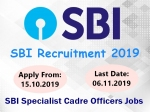 SBI Recruitment 2019: எஸ்பிஐ வங்கியில் சிறப்பு அதிகாரி பணிக்கு விண்ணப்பங்கள் வரவேற்பு!
