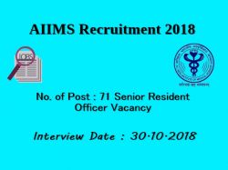Aiims Recruitment Notification 71 Senior Resident Officer Po