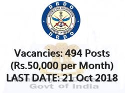 Drdo Recruitment 2018 494 Drdo Vacancy Assistant