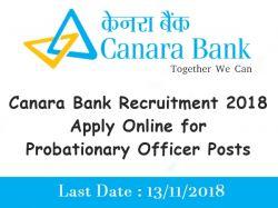 Canara Bank Po Recruitment 2018 Application 800 Probationa