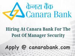 Hiring At Canara Bank The Post Manager Security Apply At Ca