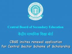 Cbse Invites Renewal Application Central Sector Scheme Scholarship