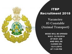Itbp Jobs 2018 Apply Online 85 Constable Animal Transport