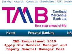 Tmb Recruitment 2019 Apply General Manager Deputy General Ma