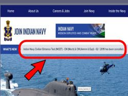Indian Navy Recruitment 2019 For The Post Of Chargeman Is Cancelled