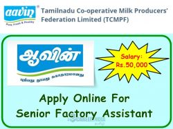 Aavin Madurai Recruitment 2019 Apply Online 30 Senior Factory Assistant