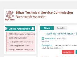 Btsc Bihar Recruitment 2019 Application Starts For 9299 Sta