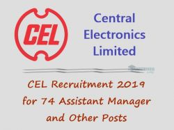 Cel Recruitment 2019 For 74 Assistant Manager And Other Post