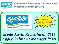 Erode Aavin Recruitment 2019 Apply Online 02 Manager Posts