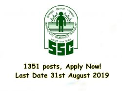 Ssc Recruitment 2019 1351 Posts Apply Now Last Date 31st August