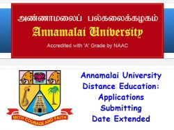 Annamalai University Distance Education Applications Submitting Date Extended