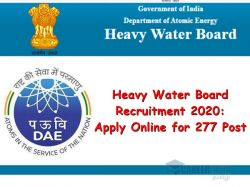 Heavy Water Board Recruitment 2020 Apply Online For 277 Scientific Assistant And Other Post