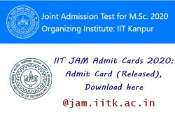 Iit Jam Admit Cards 2020 Admit Card Released Download Here
