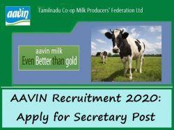 Aavin Recruitment 2020 Apply For Secretary Post At Namakkal