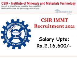 Csir Immt Recruitment 2021 Apply Online For Various Scientist Post