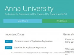 Anna University Admission 2016 Apply M Sc M Phil