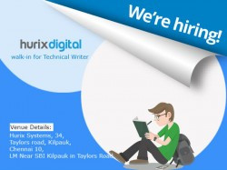 Hurix Systems Walk In Technical Writer Post