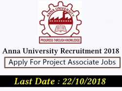 Anna University Recruitment 2018 Apply Project Associate Jobs