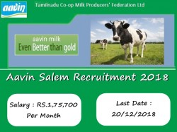 Aavin Salem Recruitment 2018 Manager Technicians Executive