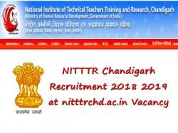 Nitttr Chandigarh Recruitment 2018 2019 At Nitttrchd Ac In V