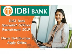 Idbi Bank Recruitment 2019 Apply Online For 120 Specialist