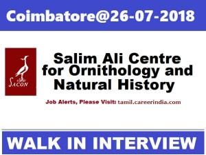 Coimbatore Walk In Interview 26 07 2018 At Sacon For Junior Research Biologist Post