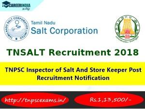 Tnpsc Inspector Salt Store Keeper Post Recruitment Notification