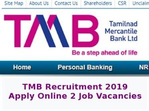 Tmb Recruitment 2019 Apply Online 2 Job Vacancies