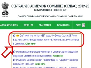 Centac Releases Draft Merit List For Admission